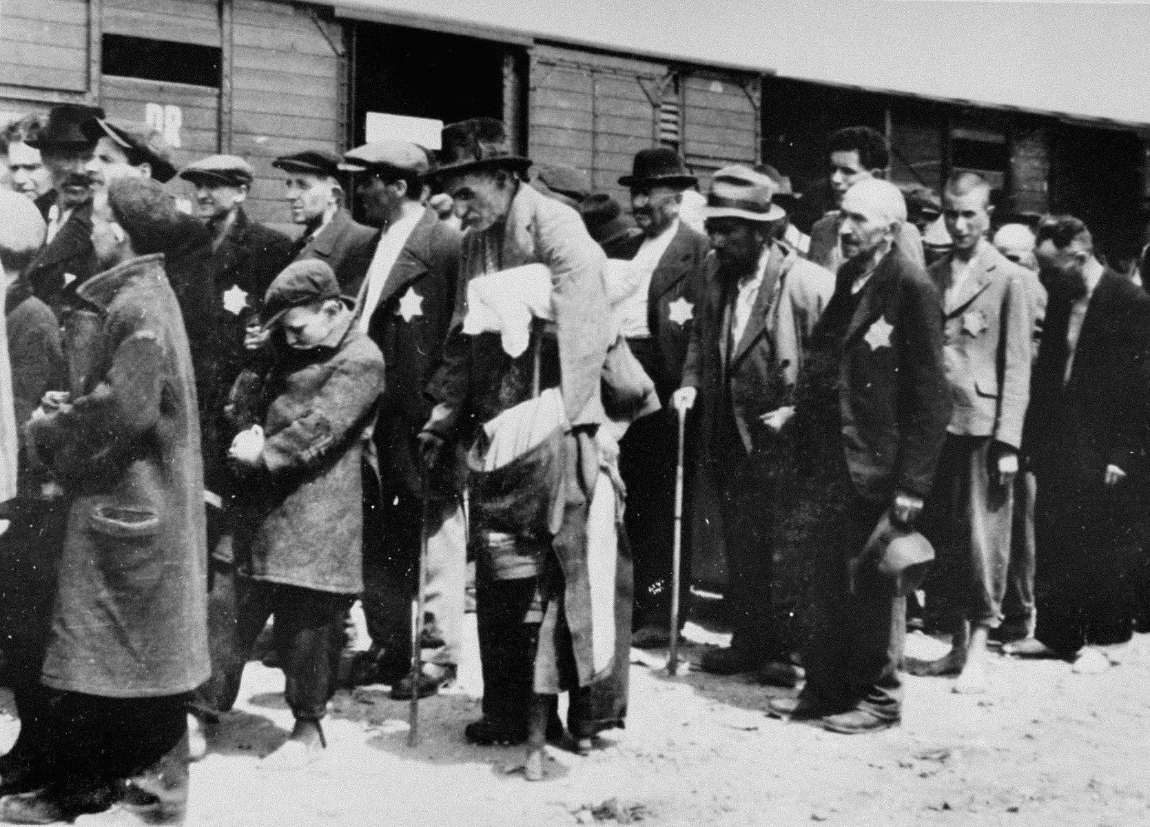 Jewish men and boys from Subcarpathian Rus await selection on the ramp at Auschwitz-Birkenau.
