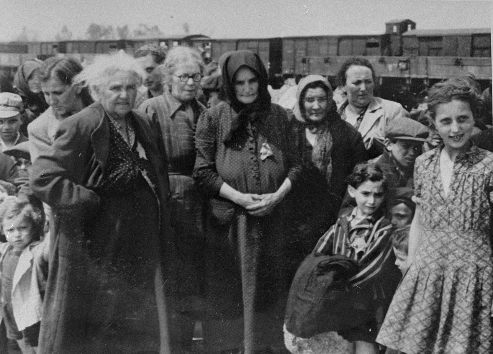 Jewish women and children from Subcarpathian Rus await selection on the ramp at Auschwitz-Birkenau.  The girl on the right has been identified as  Bella Lebovic from Tacavo.