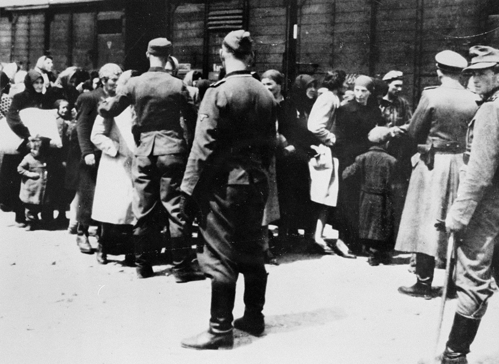 SS guards supervise the arrival of a transport of Jews from Subcarpathian Rus to Auschwitz-Birkenau.   Pictured on the far right is SS Wachmann Stefan Baretzki.  During the Frankfurt trials (1963-1965) this photograph was used as evidence against Baretzki.