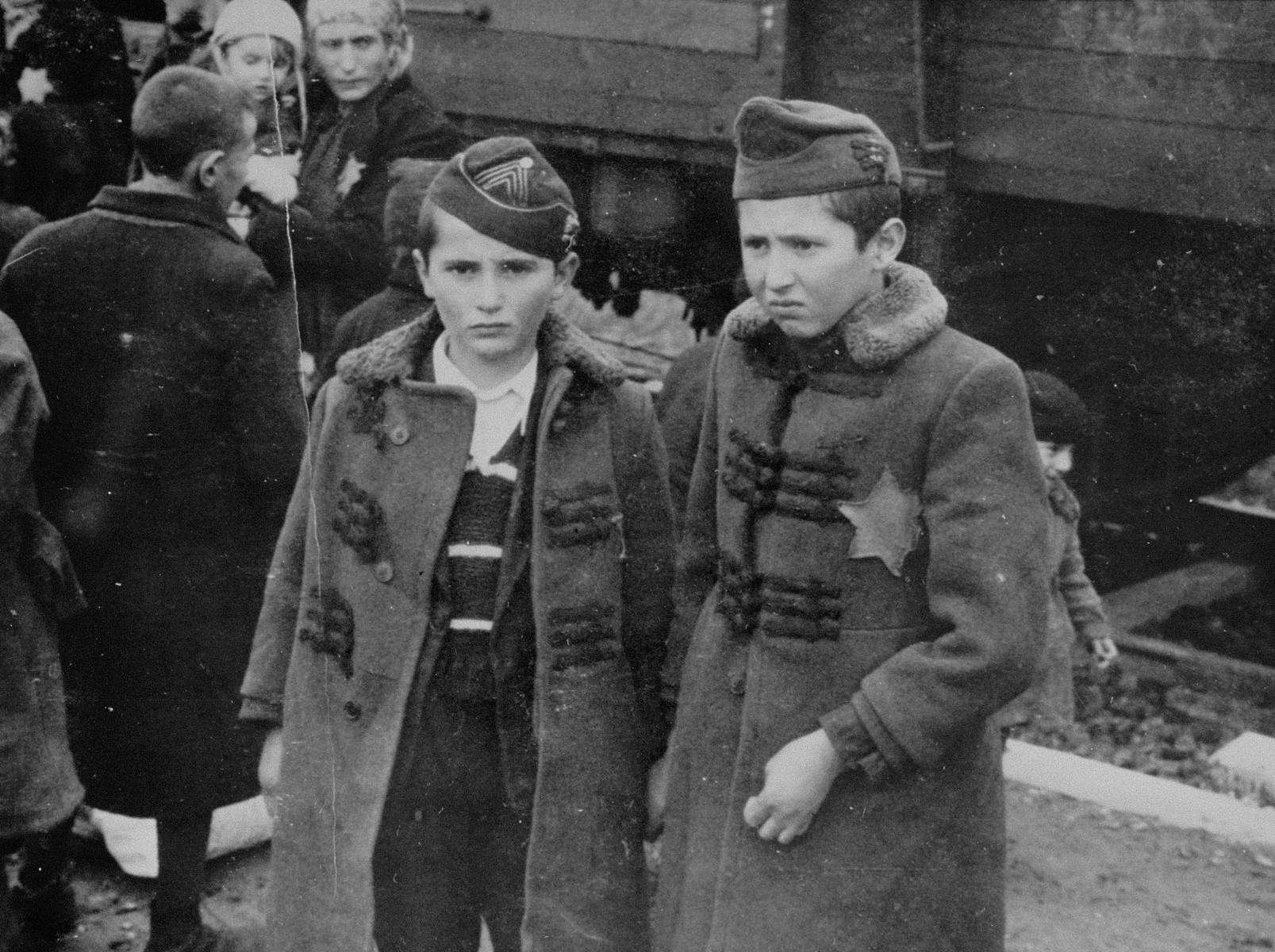 Jewish brothers from Subcarpathian Rus await selection on the ramp at Auschwitz-Birkenau.  Pictured are Israel and Zelig Jacob, ages nine and eleven.  They were gassed shortly after arrival.