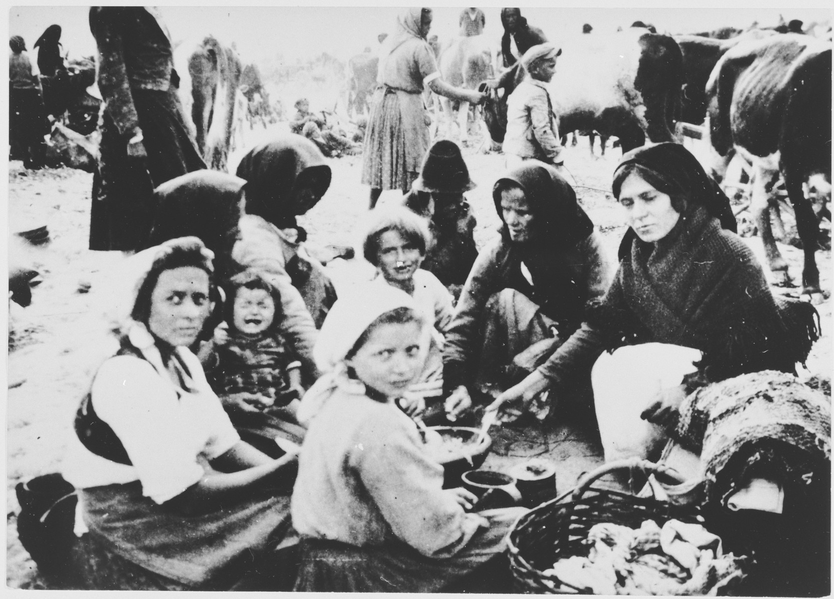 [Probably Serbian women and children from the Kozara region who have been rounded-up for deportation, eating a meal outside at a transit camp.]