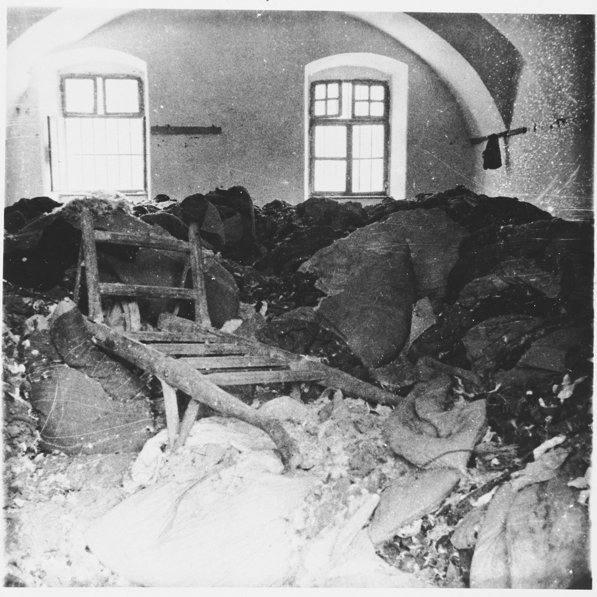 Bundles of clothing belonging to men, women and children are stored in a warehouse at the Stara Gradiska concentration camp.