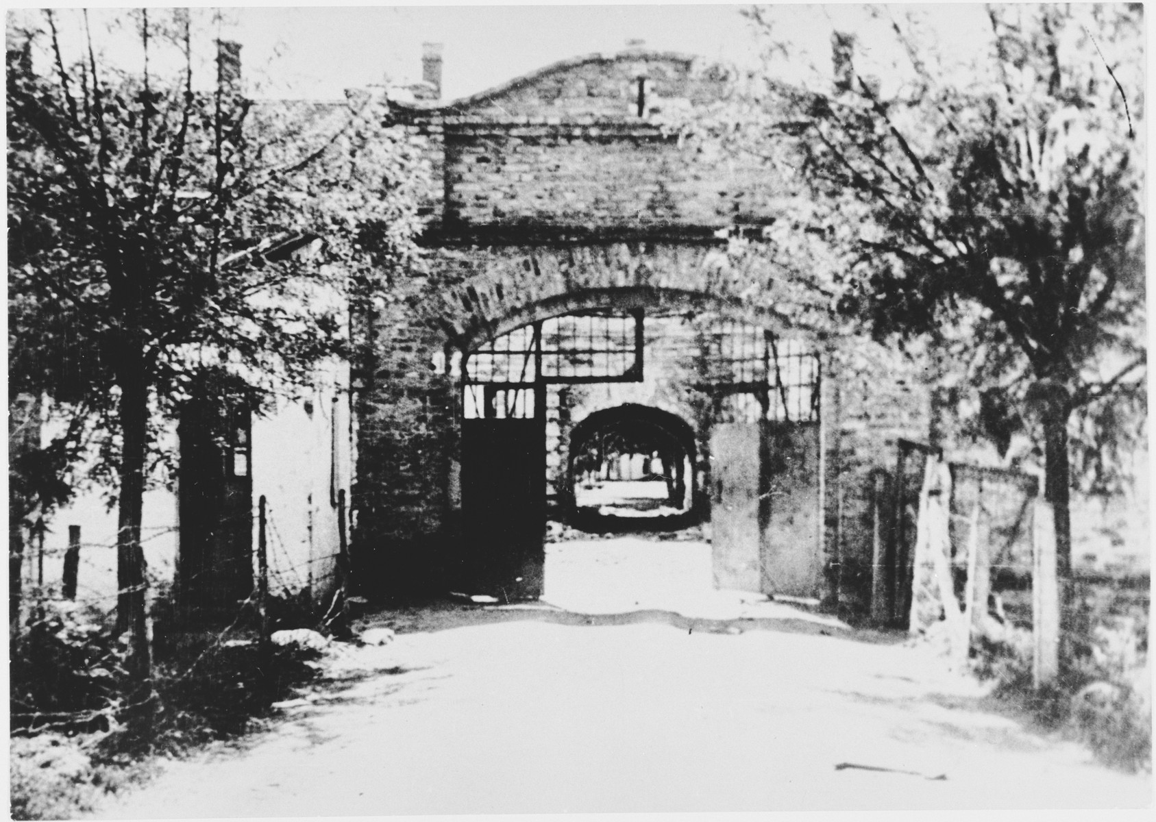 View of the entrance to the Stara Gradiska concentration camp.