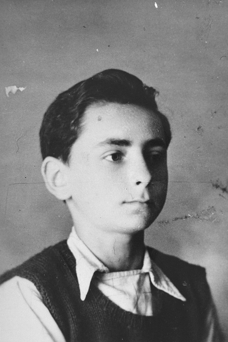 Portrait of a Jewish boy living in hiding at the Les Grillons children's home in Le Chambon during the German occupation of France.  Pictured is Paul Fogelman.