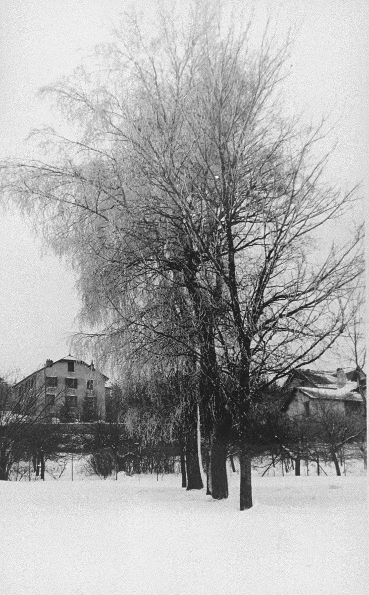View of the La Guespy children's home in Le Chambon-sur-Lignon.  This is one photo from an album presented to Elizabeth Kaufmann prior to her departure from the La Guespy refugee home in Le Chambon-sur-Lignon.    Founded in 1941 by the Secours Suisse aux enfants and run by Juliette Usach, the La Guespy children's home provided shelter to a number of Jewish and non-Jewish refugee children who were living in Le Chambon-sur-Lignon during the Nazi occupation.