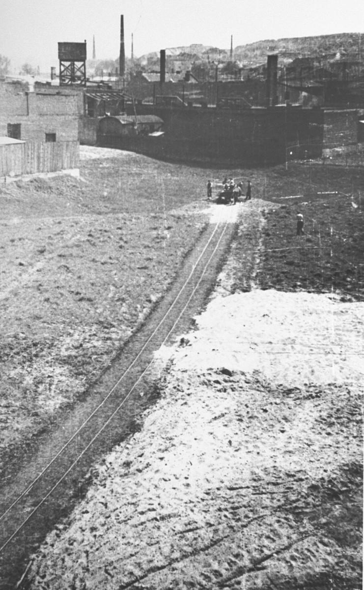 The construction of a railcar line at Oskar Schindler's armaments factory in Bruennlitz.