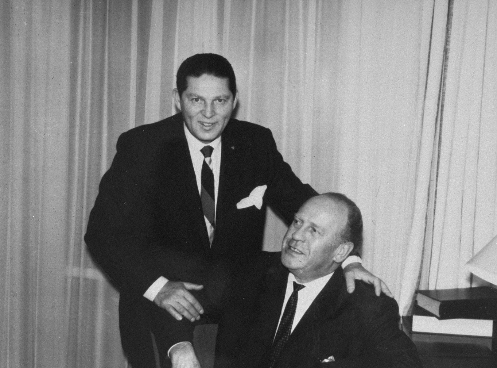 Oskar Schindler (seated) with Leopold Pfefferberg, who was saved by Schindler.