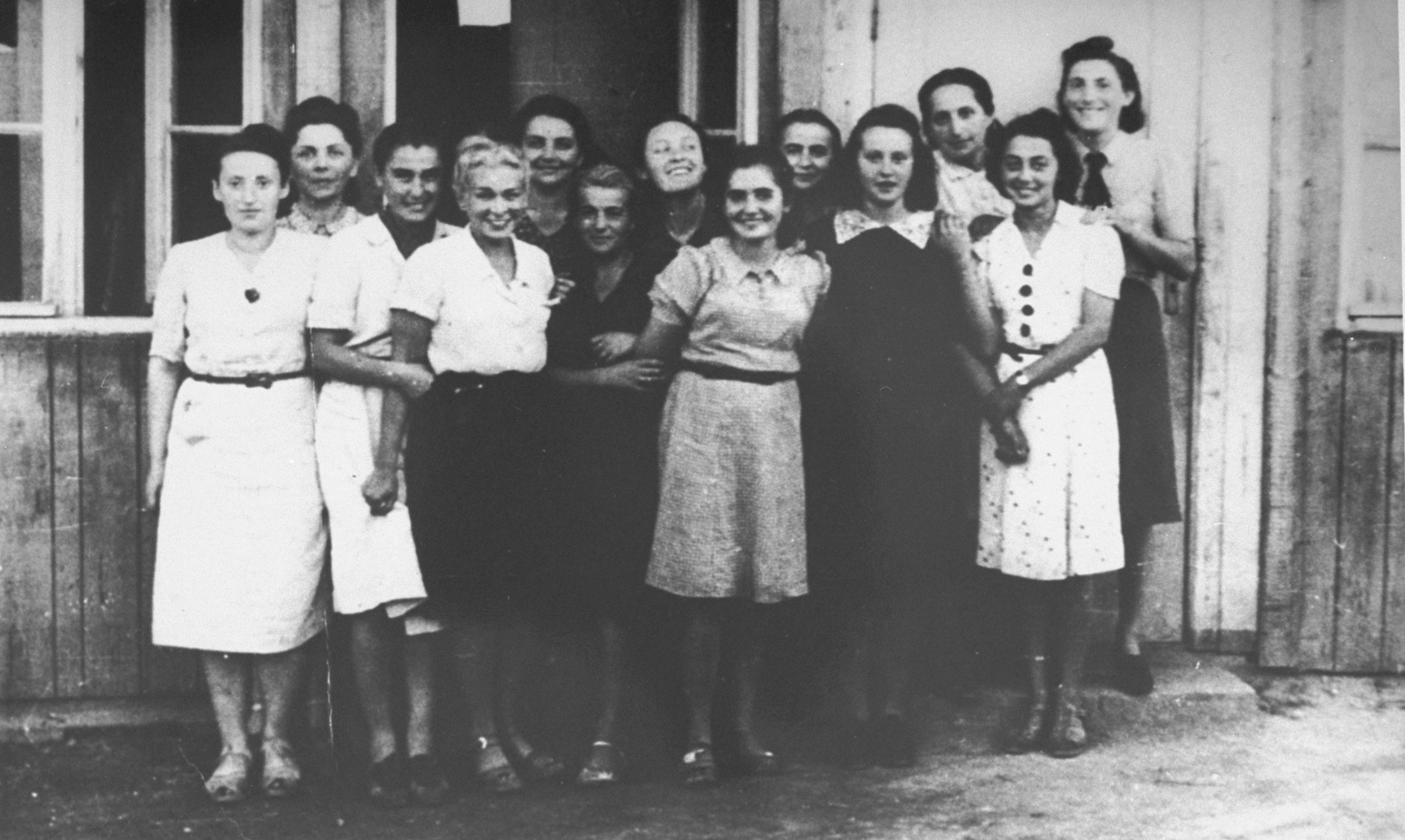 The secretarial staff of Oskar Schindler's enamelware factory in Krakow-Zablocie.  Among those pictured is Hermina Gelb Gross (middle, in the black dress) from Tarnow.