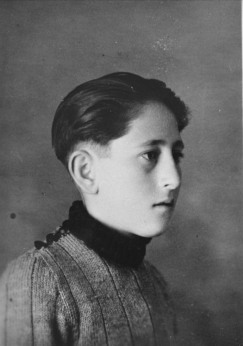 Portrait of a Spanish civil war refugee boy named Emilio Blas, who was living at the Les Grillons children's home in Le Chambon during the German occupation of France.