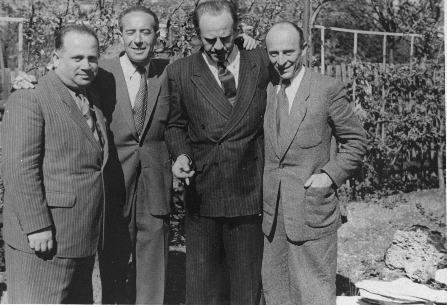 Oskar Schindler at a reunion in Munich, Germany in 1946 with Schindler Jew, Herman Kornhauser (1904-1990).