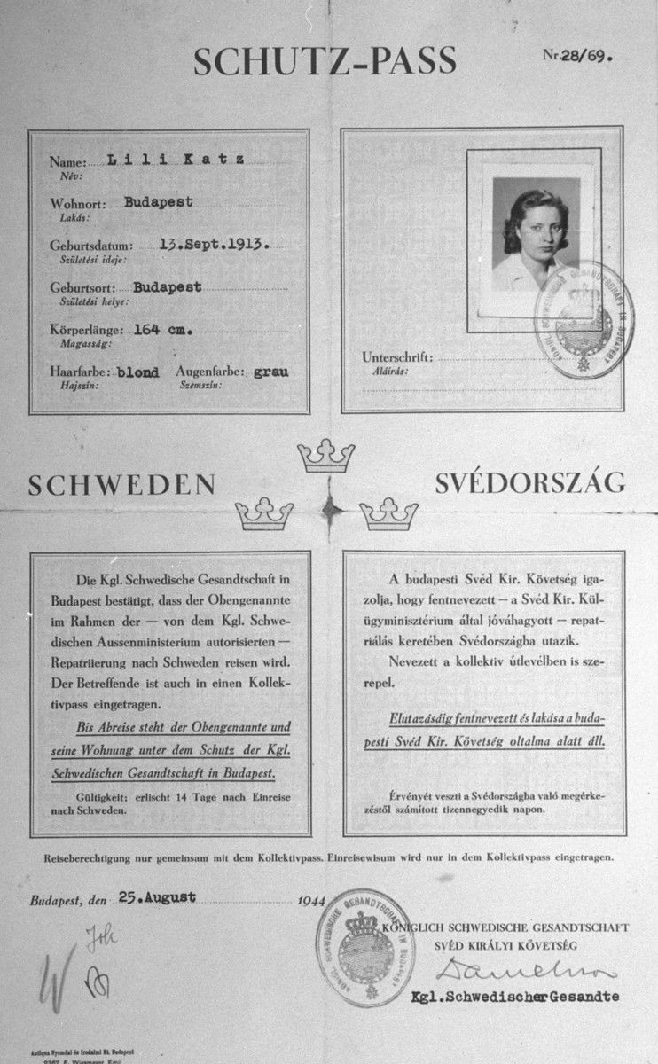 A letter of protection (Schutzpass), issued by the Swedish legation in Budapest, to the Hungarian Jew Lili Katz.  The document bears the initial W for Wallenberg in the bottom left corner.