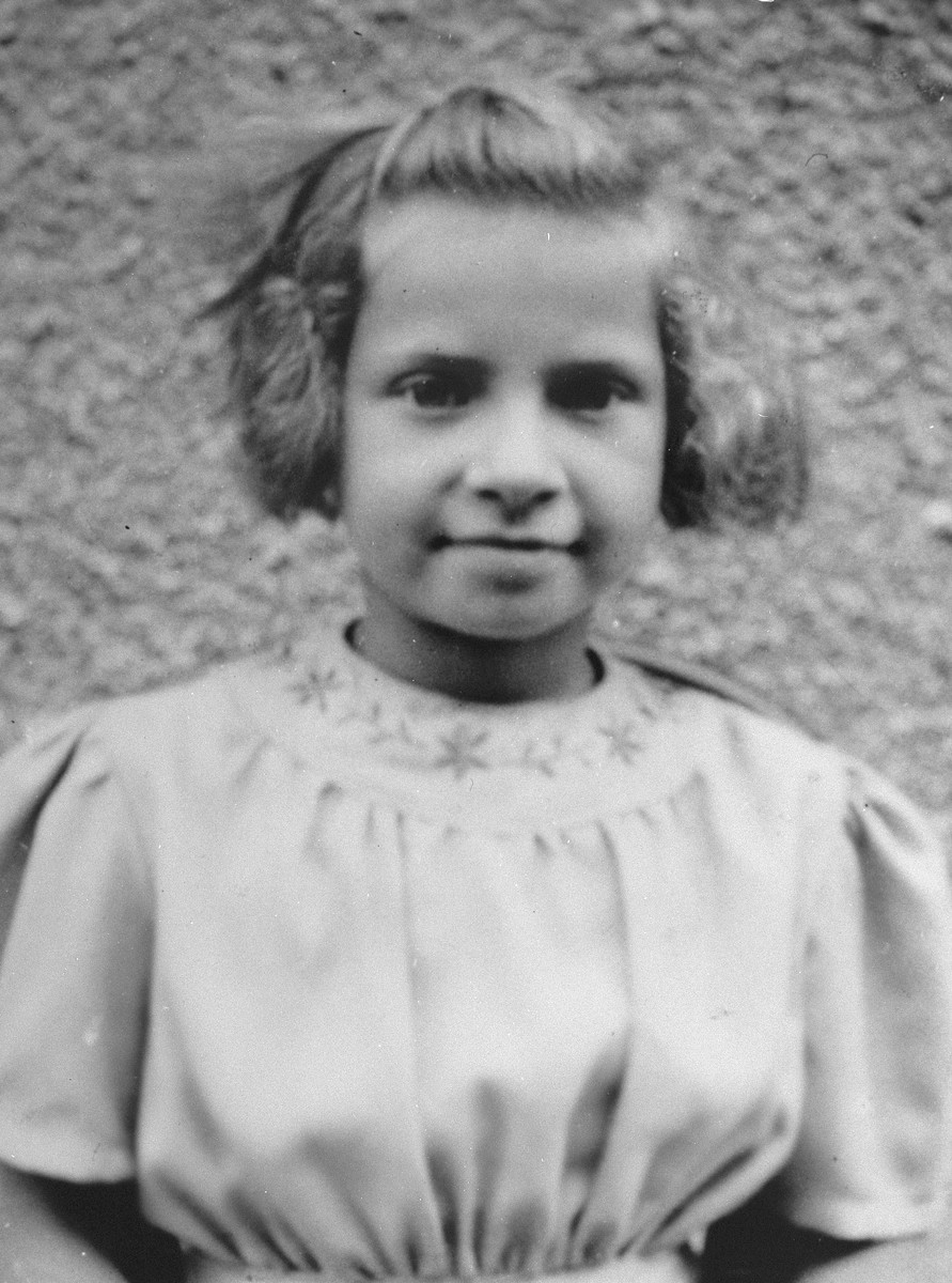Portrait of a young refugee girl living at the Les Grillons children's home in Le Chambon during the German occupation of France.