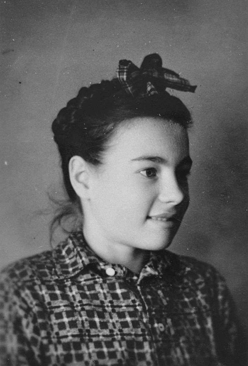 Portrait of a Spanish civil war refugee girl named Rosario, who was living at the Les Grillons children's home in Le Chambon during the German occupation of France.