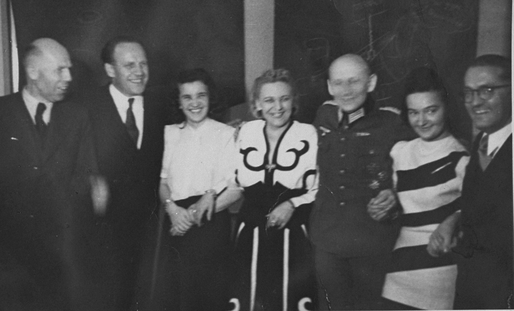 Oskar Schindler at a party with friends and a German army officer.    At parties like this, Schindler made contact with various SS and German officials, which often led to tips about impending deportations that enabled him to save his laborers.