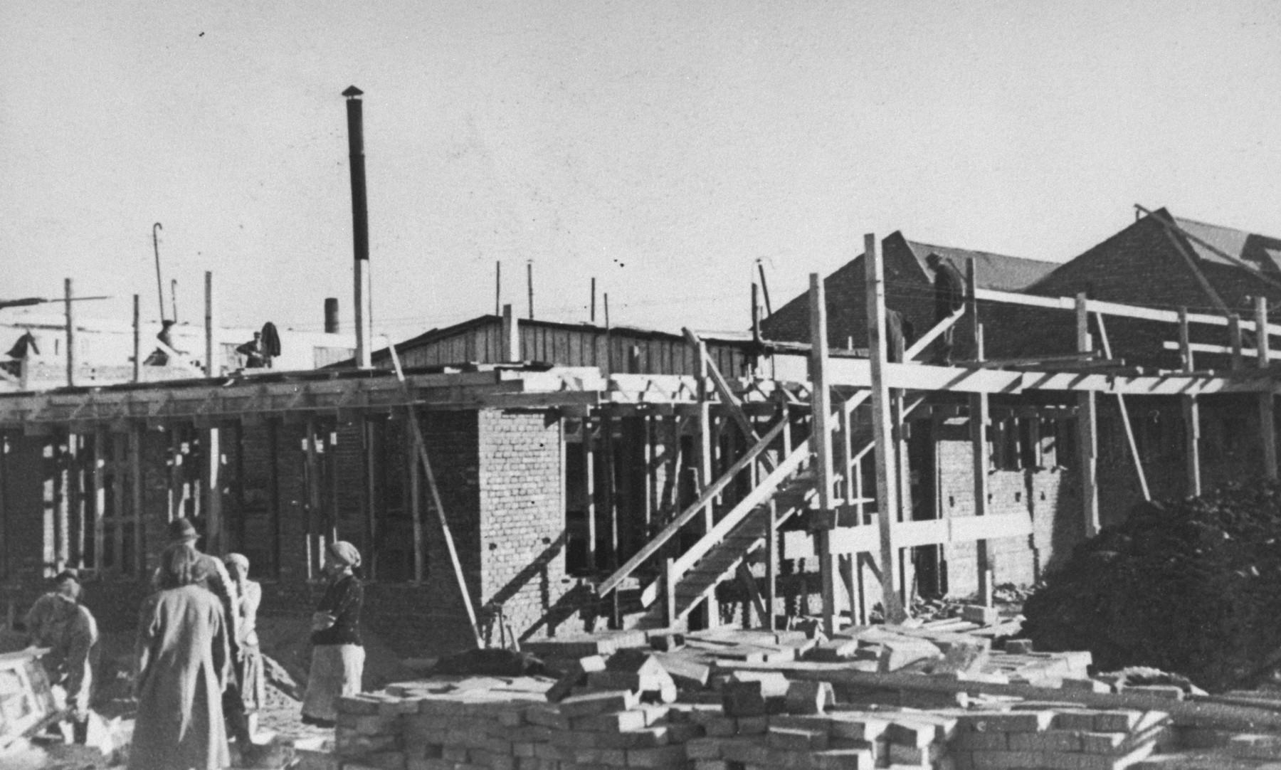 The construction of barracks at Oskar Schindler's armaments factory in Bruennlitz.