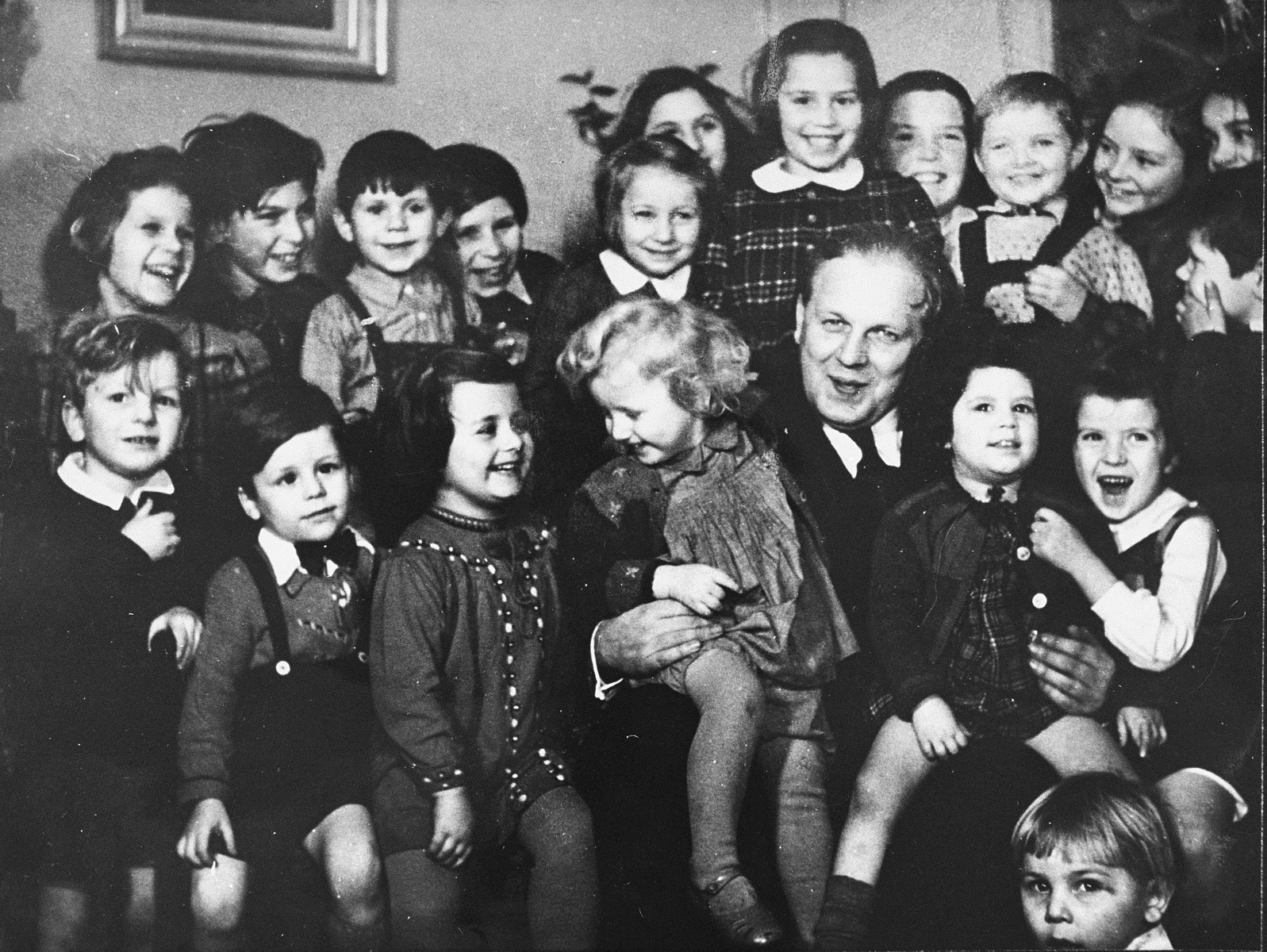 Group portrait of Danish-Jewish children living in a Swedish children's home, after their escape from Denmark.
