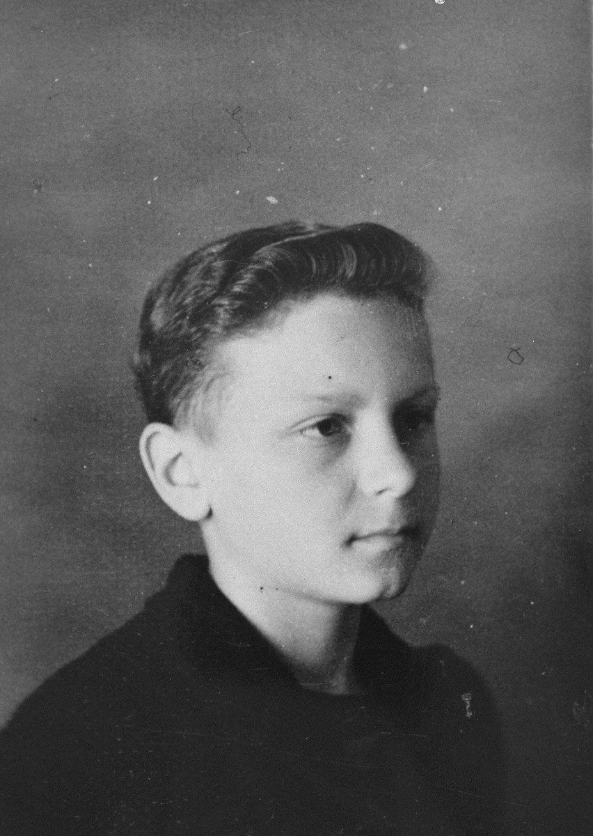 Portrait of a Czech refugee boy who was living at the Les Grillons children's home in Le Chambon during the German occupation of France.