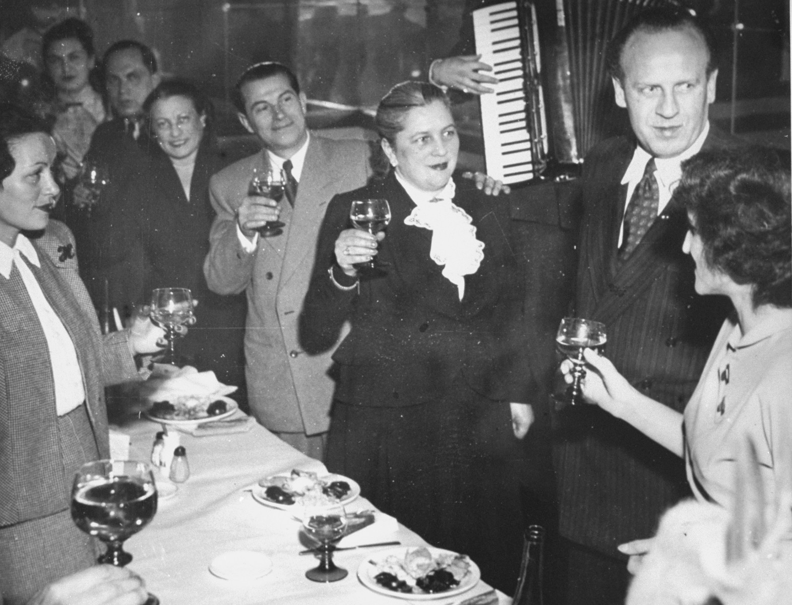 "Early in 1949, a group of some 35 ""Schindlerjuden"" gathered privately at Aux Armes de Colmar, an Alsatian restaurant in the north of Paris, to celebrate their friend Oskar Schindler, who was then passing through the city."