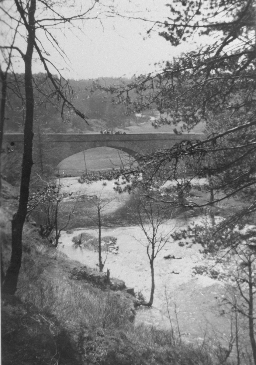 View of a bridge over a river in Le Chambon.