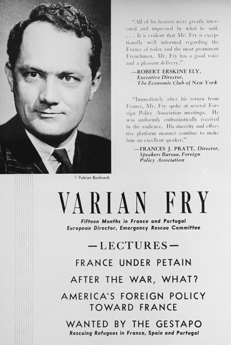 An advertisement for a lecture series given in New York City by Varian Fry.