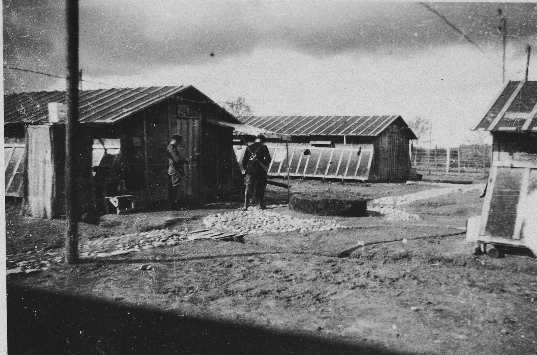View of the barracks in the Gurs concentration camp in France.