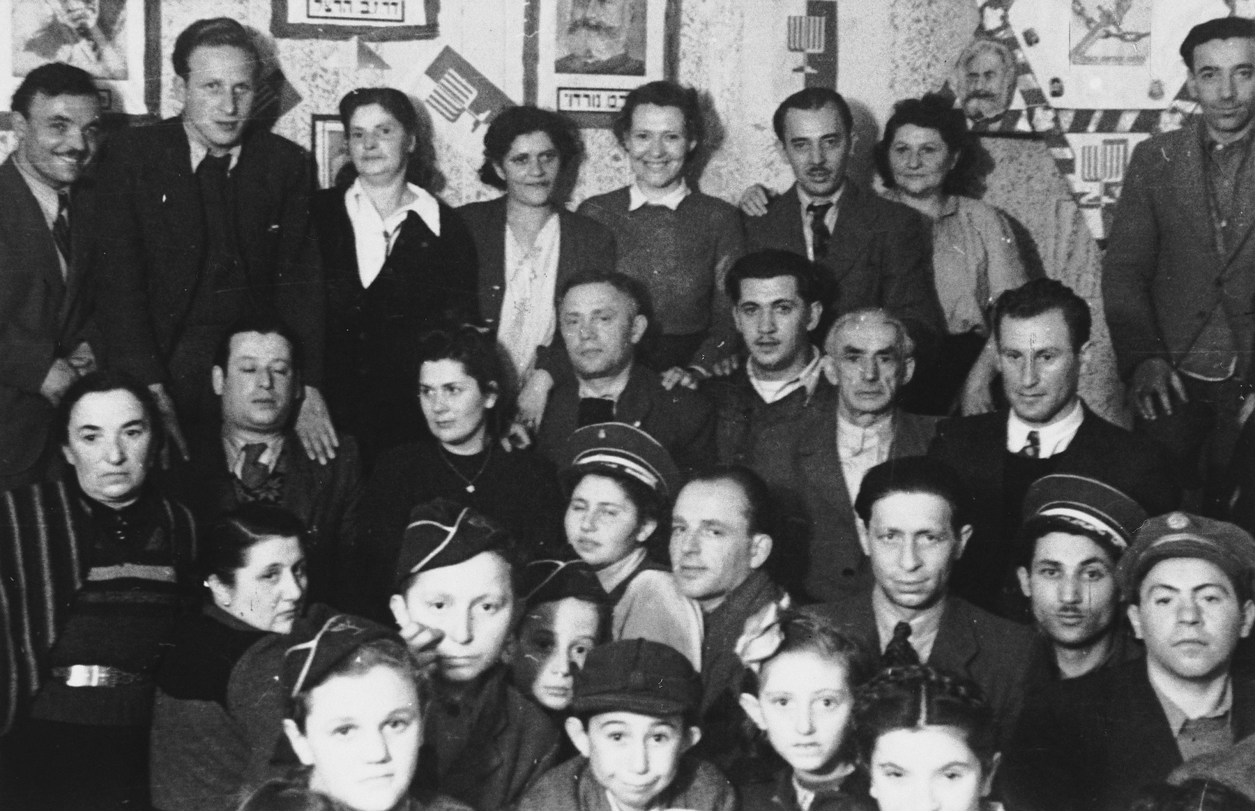 Gathering of the Betar Zionist youth in the Foehrenwald DP camp.
