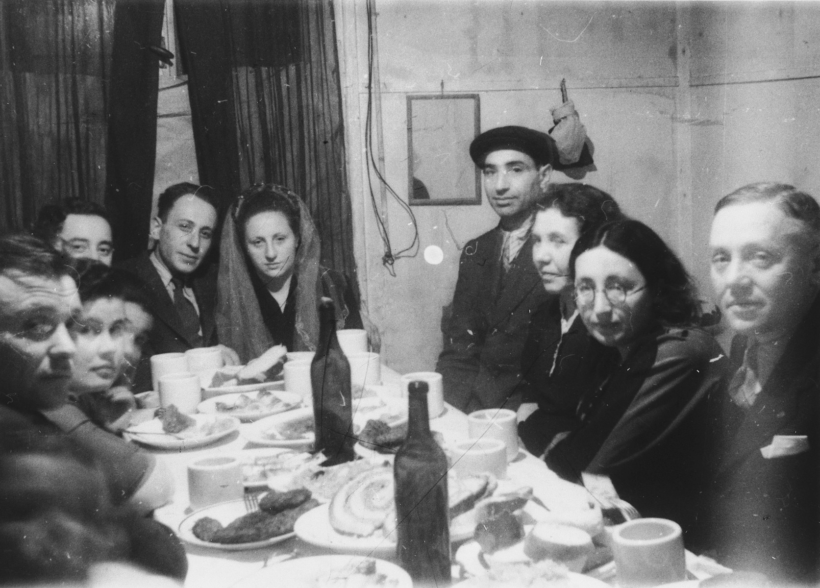 Jewish DPs celebrate a wedding in the Foehrenwald displaced persons' camp.  Among those attending are Yitzhak Baran.