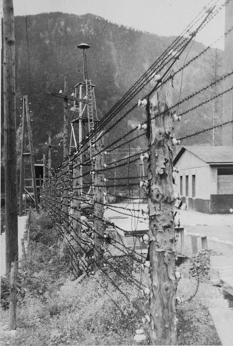 "View of the electrified fence that surrounded Ebensee, a sub-camp of Mauthausen.    The original caption reads: ""The charged wires that surrounded the camp and lookout tower,"""