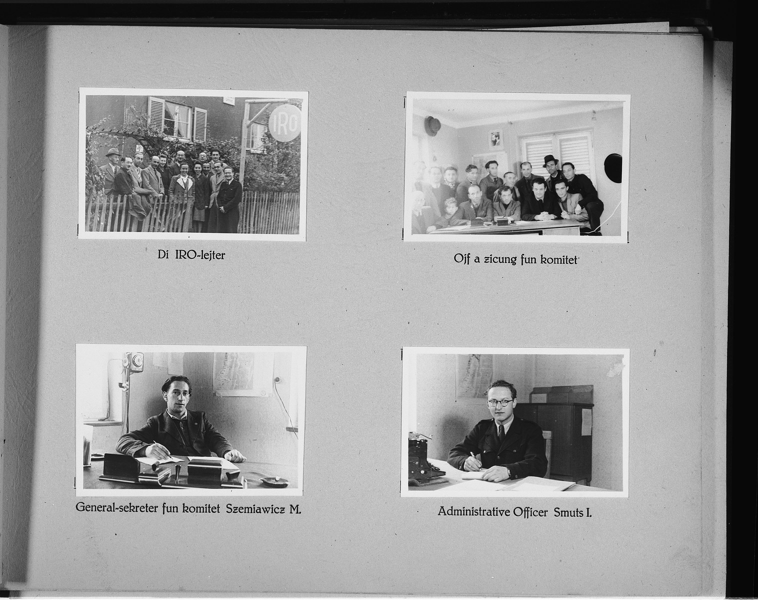Page from a photo album of the Wasseralfingen DP camp showing members of the camp's administration.
