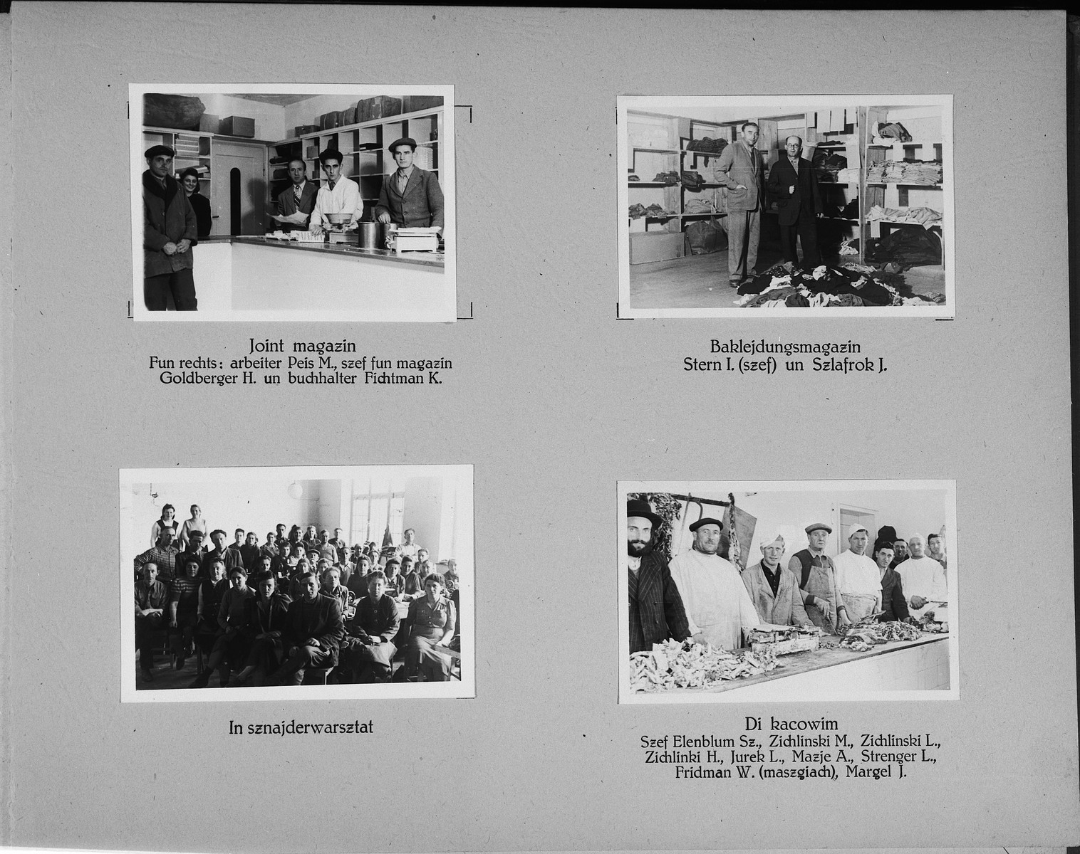 Page from a photo album of the Wasseralfingen DP camp showing the camp's storerooms, workshops, and butchers.