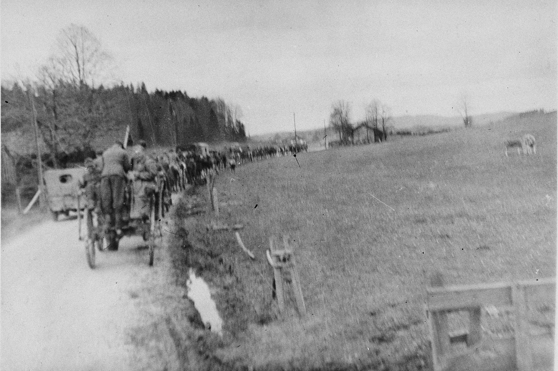 "Survivors of the Ebensee sub-camp depart the camp by wagon and on foot.  The original caption reads: ""Displaced persons going home."""