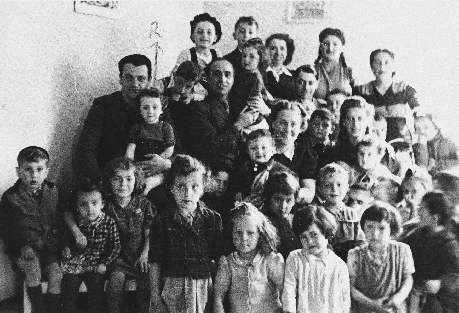 Group portrait of the children in the Wasseralfingen displaced persons' camp.