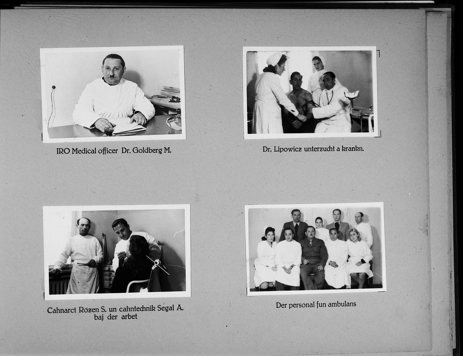 Page from a photo album of the Wasseralifingen DP camp showing the camp's medical staff.