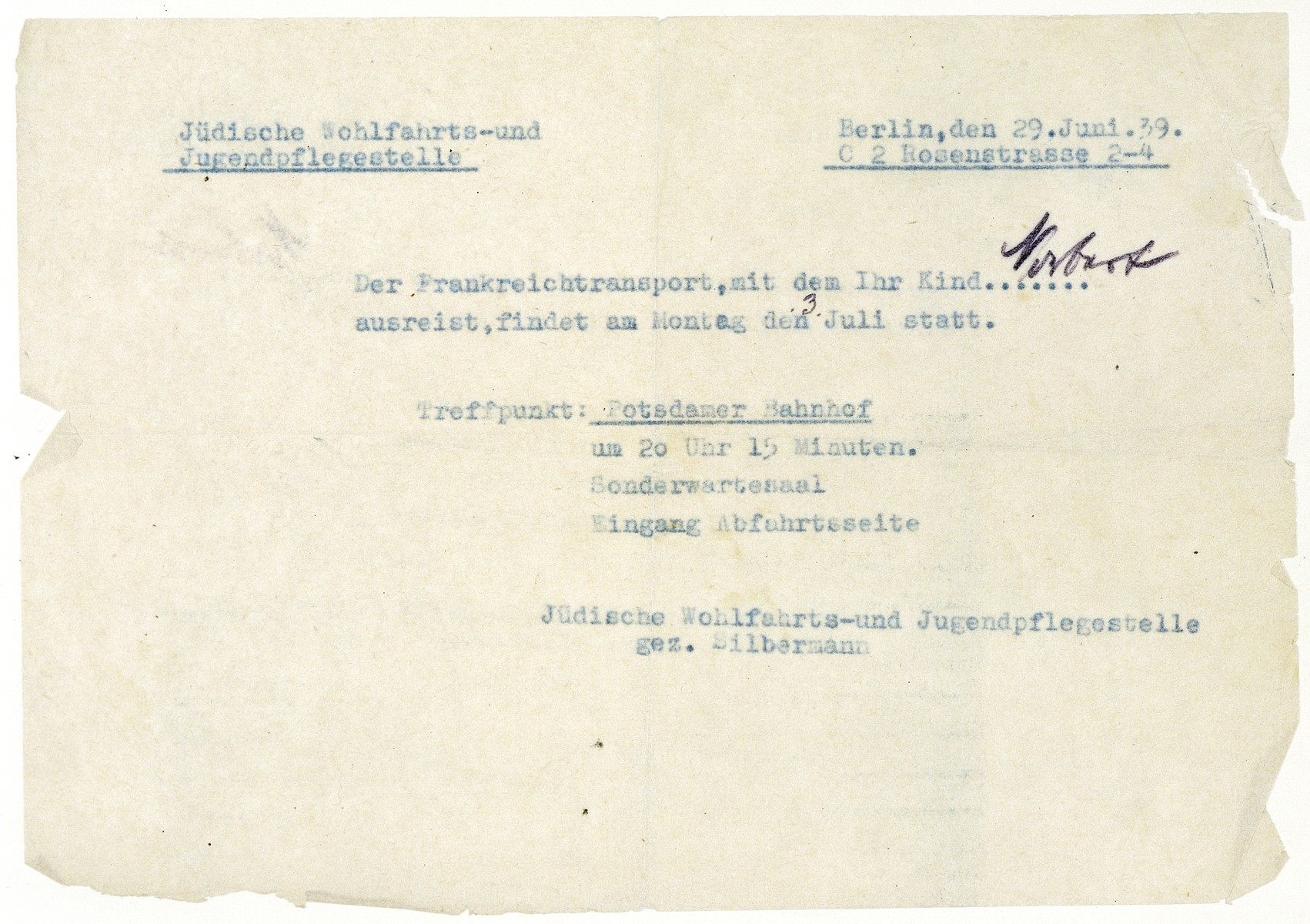 Confirmation notice sent to Norbert Bikales by the Jewish Welfare and Youth Placement office telling him to report for the Kindertransport to France on July 3, 1939.