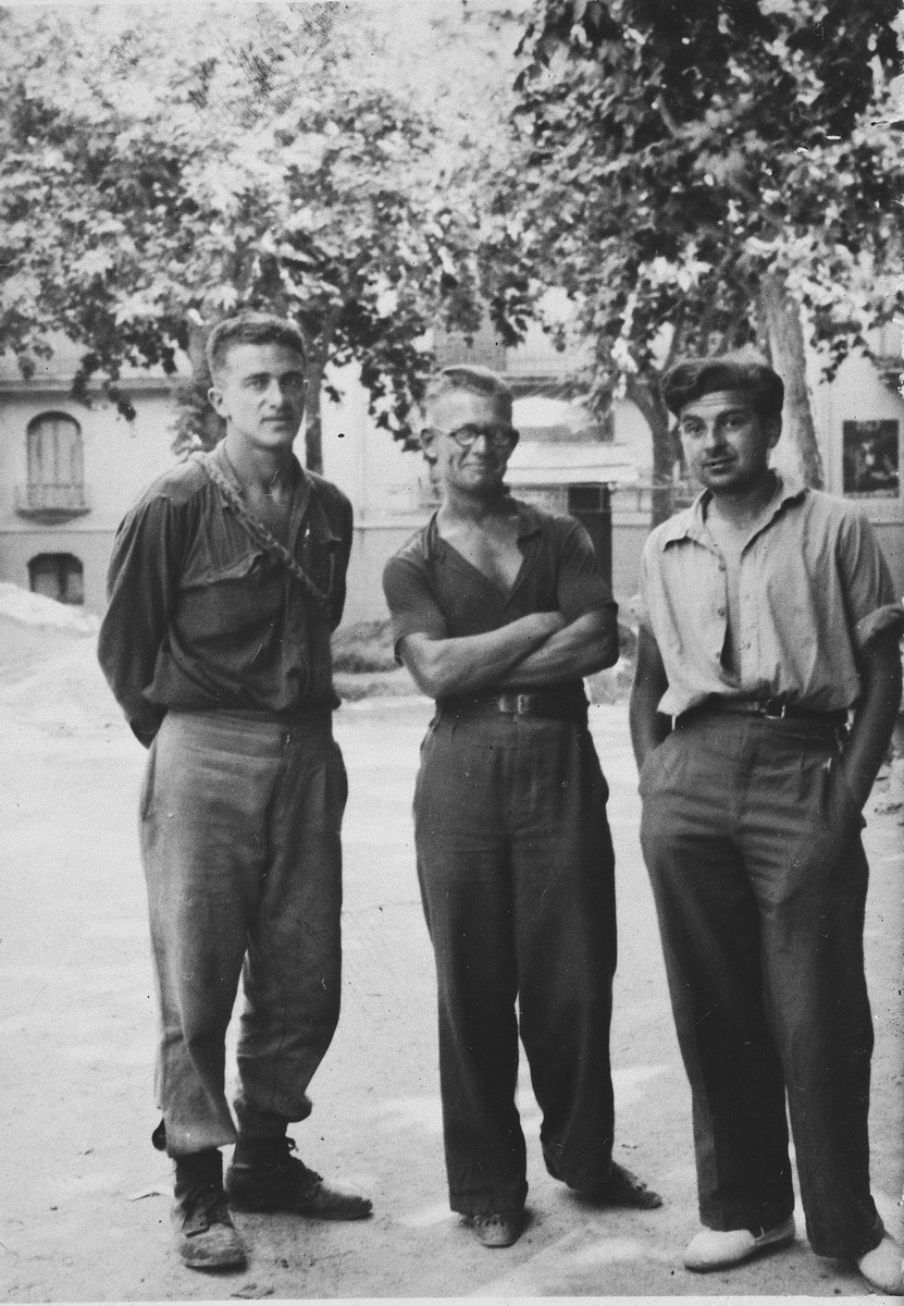 Portrait of Dr. Hans Landesberg and two other men.  Dr. Landesberg was an Austrian Jew who served in the International Brigade and later was incarcerated in two North African internment camps.