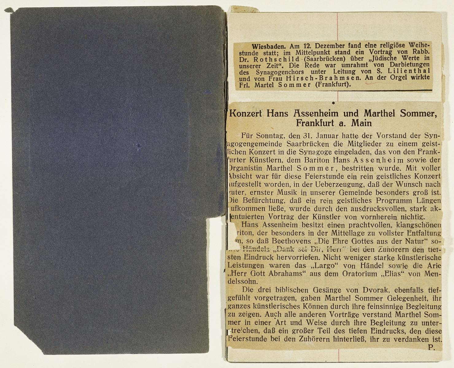 One page of a booklet containing newspaper clippings of concert reviews kept by Marthel Sommer, organist and pianist in the Juedischer Kulturbund [the Jewish Cultural Association] of Germany.