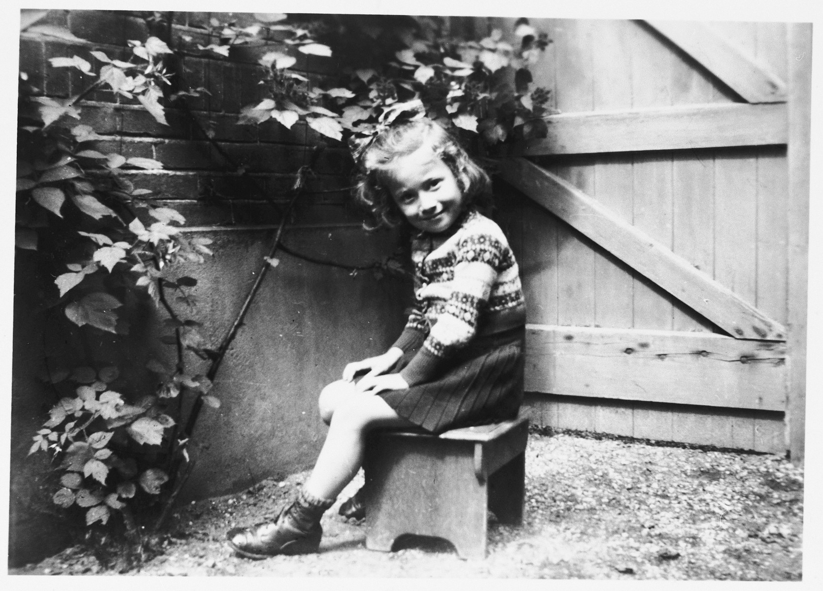 A young Jewish child sits in the garden of her Dutch rescuers' home wearing a sweater made by her mother prior to her deportation.  Pictured is Truusje Schoenfeld just before leaving the home of her rescuers to return to Amsterdam after the war.
