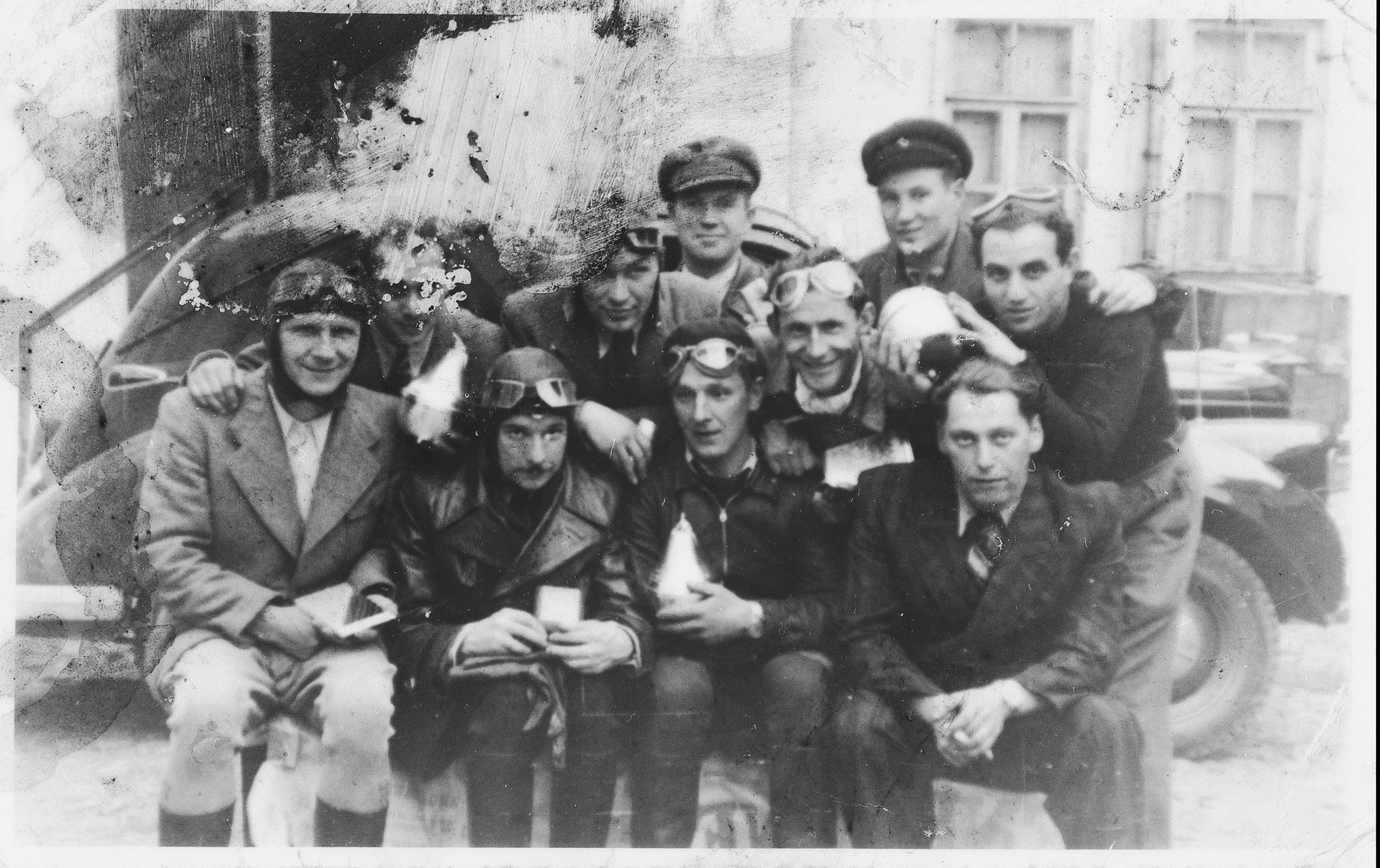 Group portrait of members of the Kaunas Motor Club.  Among those pictured is Isroel Ipp (front row, right) and Fima Frietberg (middle row, right).