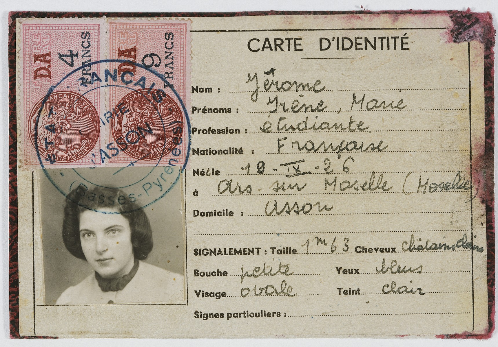 False identification papers issued to Inge Joseph under the name Irene Marie Jerome.