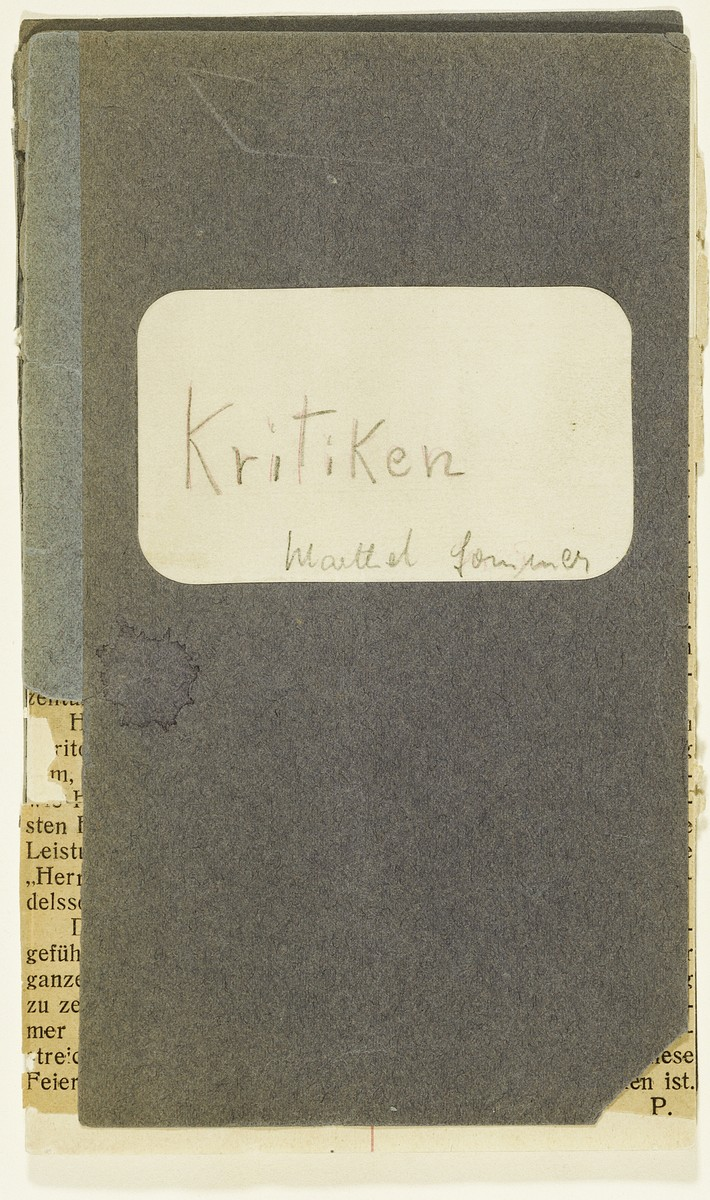 Cover of a booklet containing newspaper clippings of concert reviews kept by Marthel Sommer, organist and pianist in the Juedischer Kulturbund [the Jewish Cultural Association] of Germany.