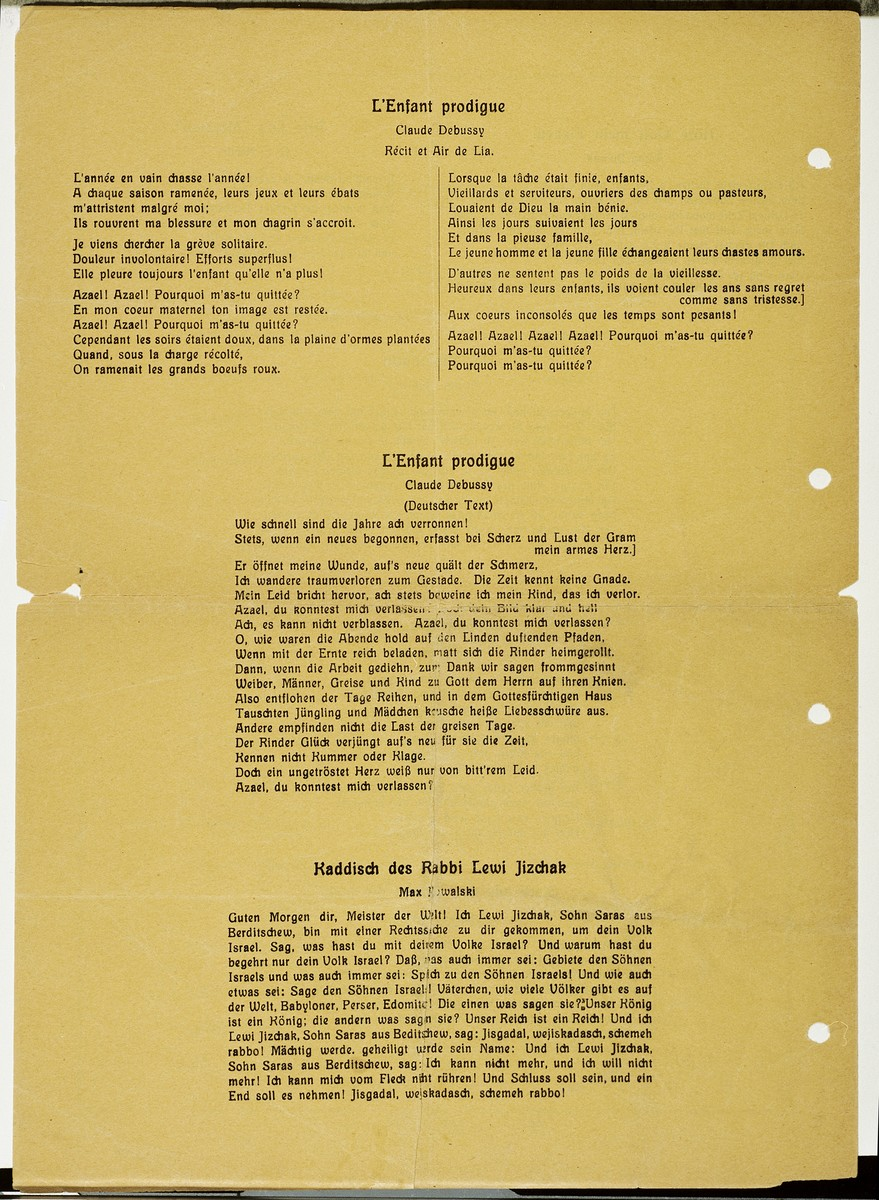 """Fourth page of a program for a concert entitled """"Voices in the Temple,"""" directed by Alfred Auerbach that took place on August 30, 1938 at the Westend Synagogue in Frankfurt.  The page contains the lyrics for four of the performed songs.  The concert was sponsored by the Juedischer Kulturbund [Jewish Cultural Association] in Rhein-Main, an affiliate of the Reichsverband der Juedischen Kulturbuende in Deutschland [National Union of Jewish Cultural Associations in Germany].  The performers included soprano Erna Gross, alto Paula Levi, baritone Hans Assenheim, organist Marthel Sommer, pianist Max Firnberg, as well as Sofie Seligmann, Alfred Auerbach and Rudolf Ganz."""