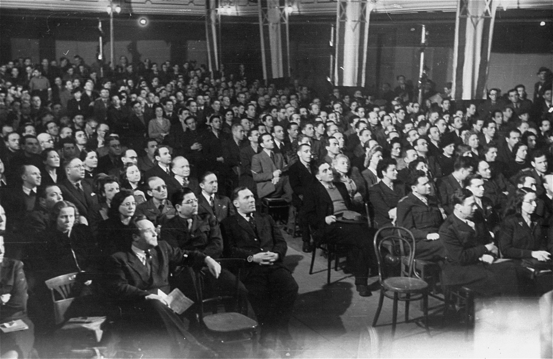 View of the audience at a post-war Zionist conference in Munich.