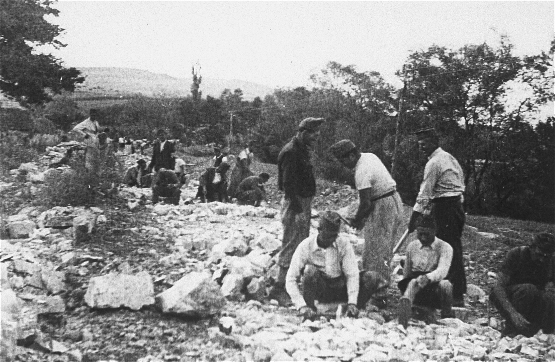 Members of a Hungarian Jewish labor battalion construct a road in Cluj.