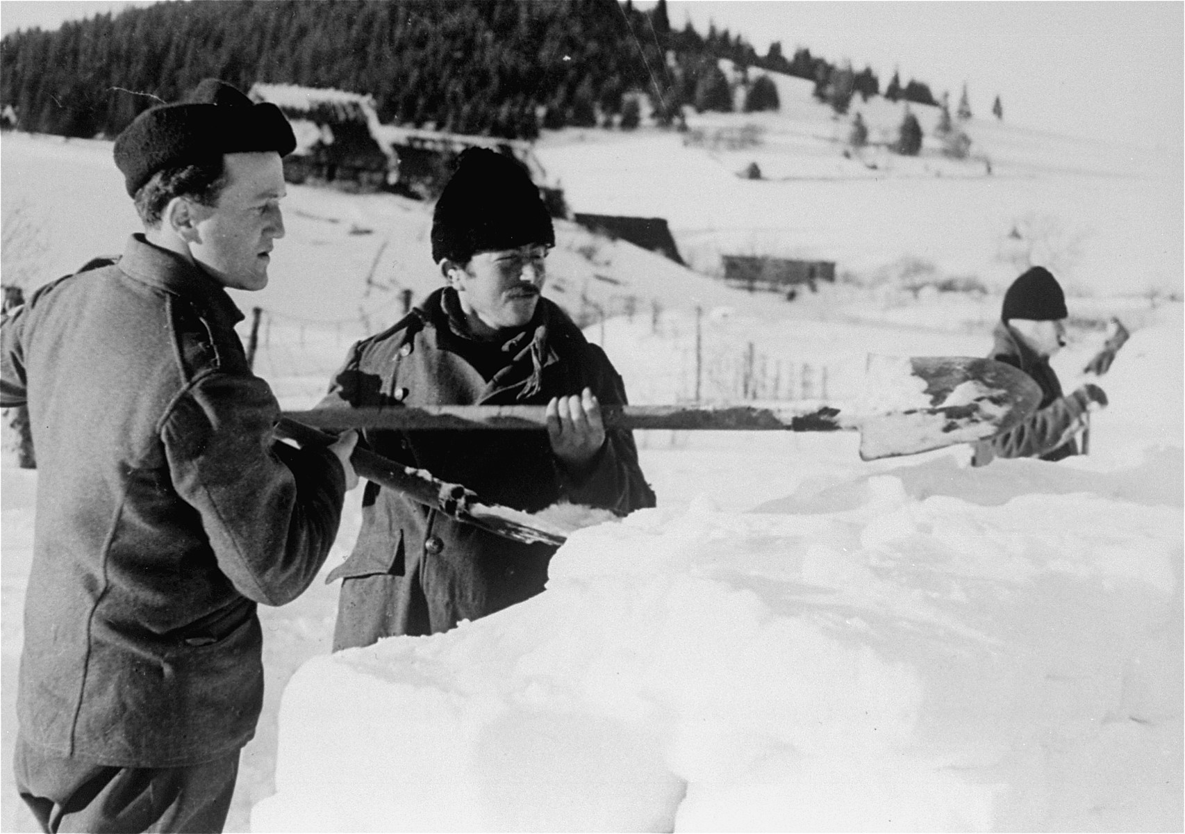 Jewish conscripts in Company 108/57 of the Hungarian Labor Service at forced labor clearing snow from a road.  These men are constructing a barricade against drifting snow.