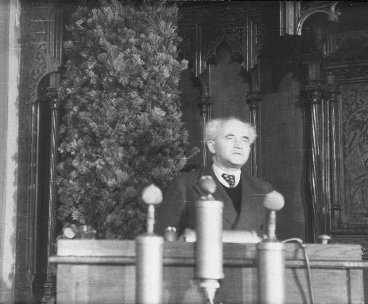 David Ben-Gurion addresses the Central Committee of Liberated Jews in the U.S. occupied zone at its first meeting in Munich.