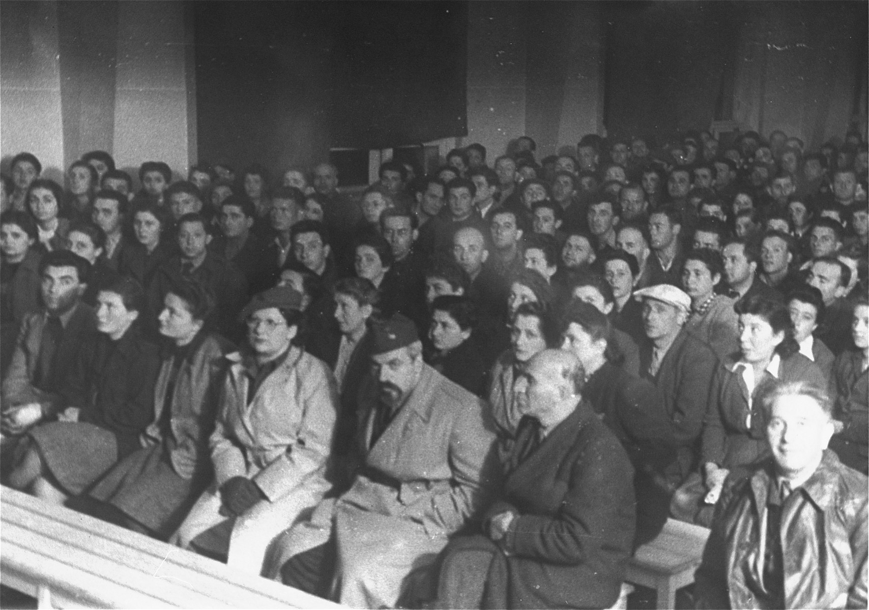 View of the audience on the opening day of the first conference of the Central Committee of Liberated Jews in the U.S. Zone of Germany.