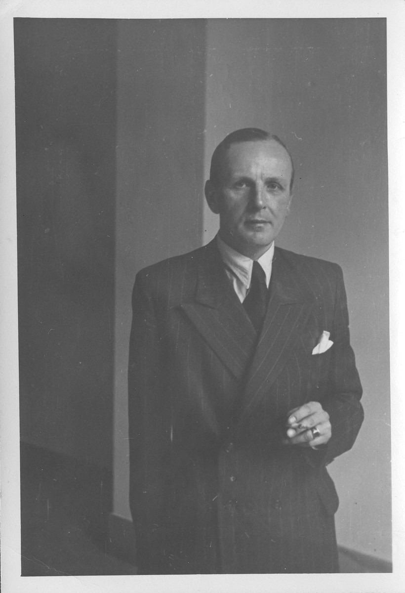 Portrait of German General Siegfried Westphal at the IMT Nuremberg commission hearings investigating indicted Nazi organizations.    Westphal served as Chief of Staff to Field Marshalls Erwin Rommel, Albert von Kesselring and Gerd von Rundstedt.