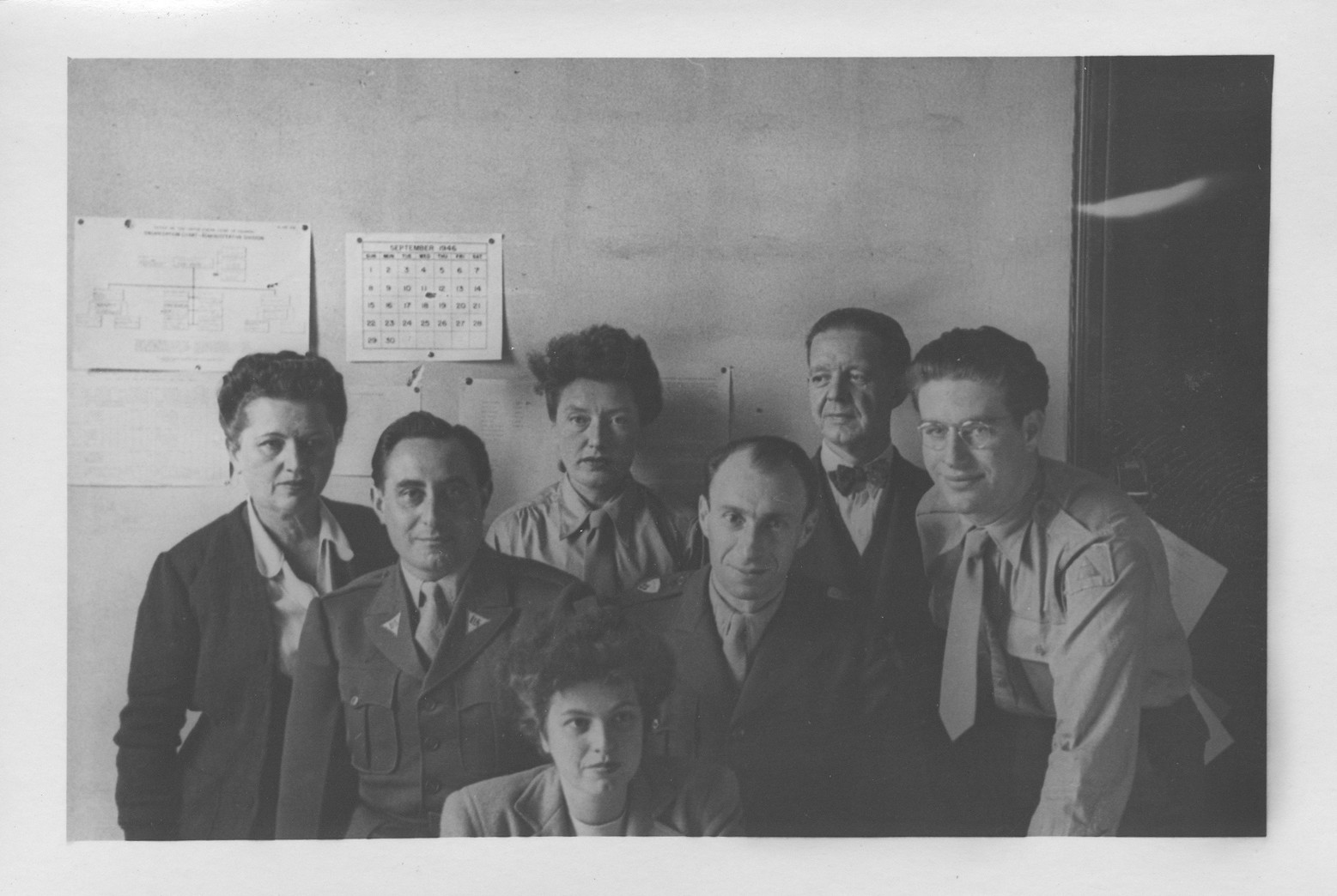 Group portrait of IMT Nuremberg trial interpreters.  Among those pictured is Gerd Schwab (at the right).