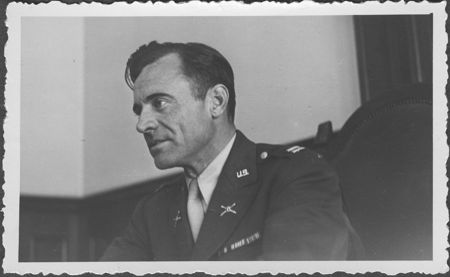 Portrait of Captain Turbidy, one of the commissioners hearing evidence at the IMT Nuremberg commission hearings investigating indicted Nazi organizations.