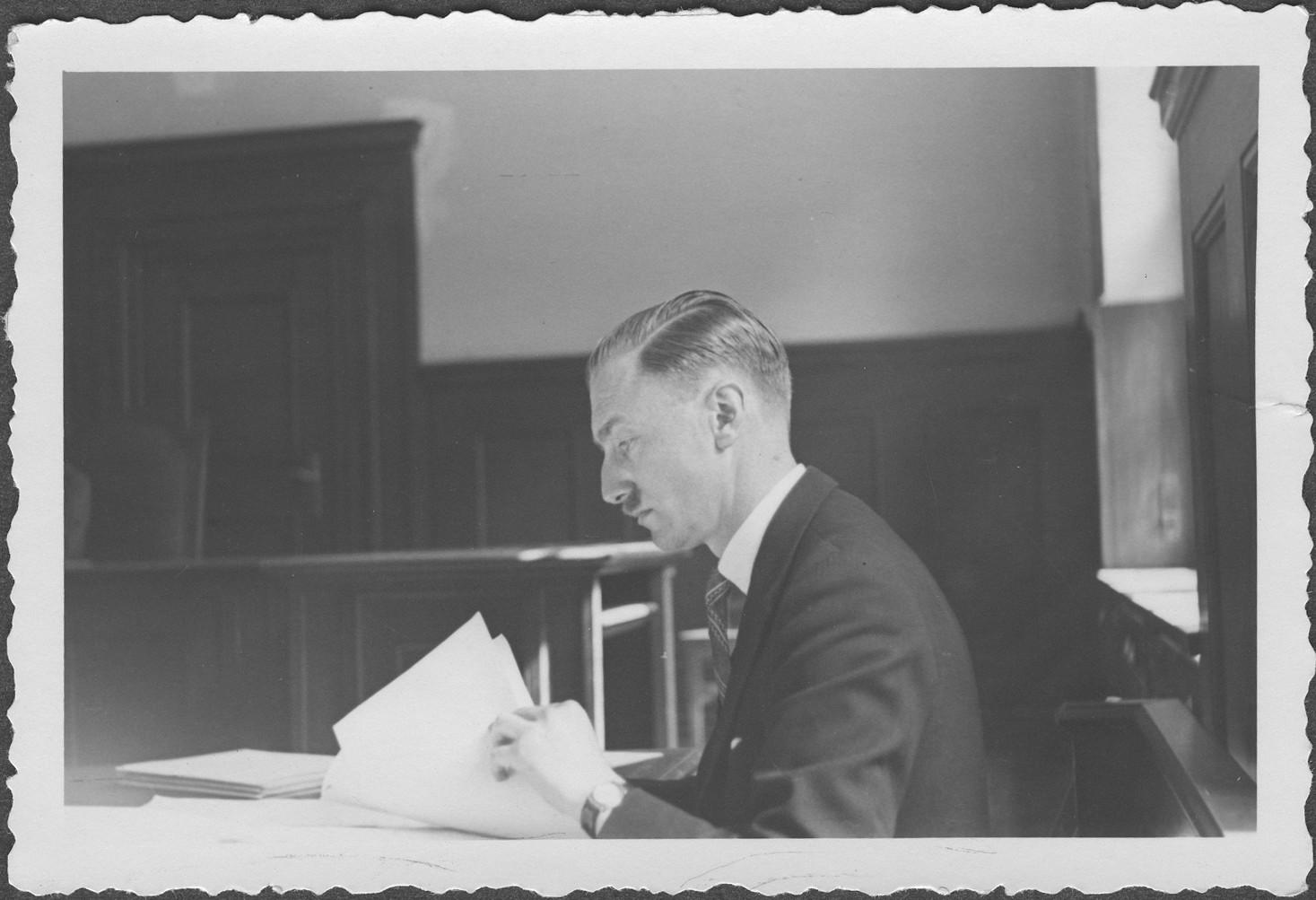 Portrait of J. Harcourt Barrington, British prosecutor at the IMT Nuremberg commission hearings investigating indicted Nazi organizations.